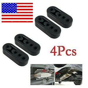 4pcs Car Rubber Exhaust Tail Pipe Mount Brackets Hanger Insulator 4 Holes Black