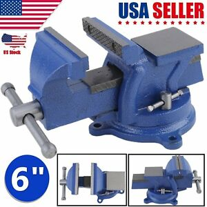 6 Bench Vise With Anvil Swivel Locking Base Table Top Clamp Heavy Duty Steel Vp