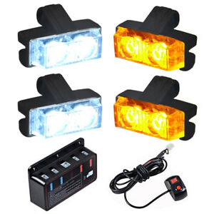 16 Led Car Truck Strobe Emergency Warning Lights For Deck Dash Grill White Amber