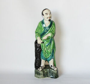Antique Porcelain Chinese Old Man Figurine Statue