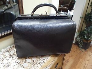Antique Leather French Medical Or Doctors Bag With Key Ed Brochard Paris France