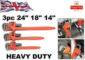 3pc Professional Heavy Duty Adjustable Pipe Wrench Set 14inch 18inch 24inch Gb