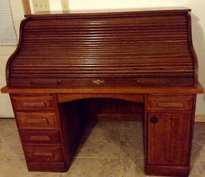 Vintage Antique Beautiful Oak Rolltop Desk Early 1900 S