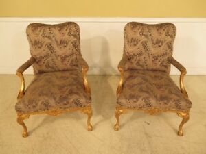 F28599c Pair Of Gold Gilt Chippendale Open Arm Chairs