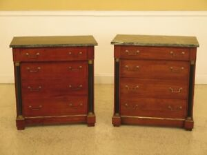 F30068ec 69ec Pair Italian Empire Design Marble Top Bachelor Chest Commode