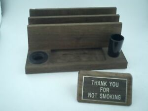 Vintage Desk Organizer Pen Card Paperclip Letter Holder With Thank You For Not S