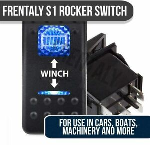 7pin Winch In Out Switch Blue Led Laser Rocker Utv Truck Boat Auto Car Rv 12v Rv
