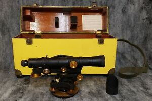 Vintage Keuffel Esser 9092 22 Transit Survey Level In Original Wood Case