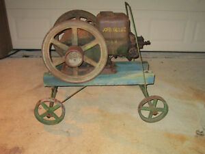 Antique 1 5 Hp John Deere Hit Miss Stationary Engine Model E Pull Cart