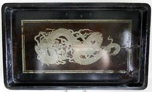 Large Antique Chinese Lacquered Wood Tray With Three Toe Dragon