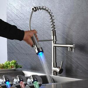 Led Commercial Pre rinse Kitchen Sink Faucet Pull Down Sprayer Brushed Nickel