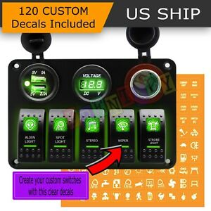 Car Marine Boat 5 Gang Waterproof Circuit Green Led Rocker Switch Panel Breaker