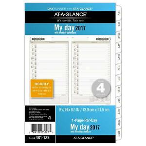 Day Runner Daily monthly Planner Refill 2017 1 Page per day 5 1 2 X 8 1 2