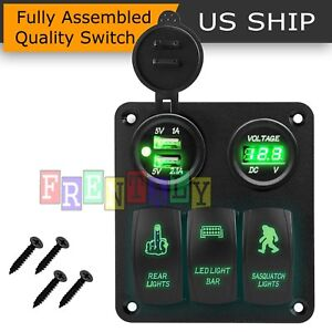 Led Switch Panel 3 Gang Rocker Switch Toggle Green Led Fog Car Work Light Bar