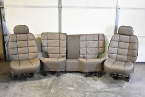1993 Jeep Grand Wagoneer Gray Leather Seats Front Driver Passenger And Rear Seat