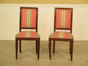F23070e Pair Antique Italian Distressed Regency Side Chairs