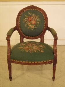 F43518 French Louis Xv Style Aubusson Needlepoint Open Arm Chair