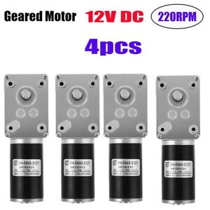 4x High Speed Reversible Small Motor 12v 220rpm Pm Dc Worm Geared With New Tg