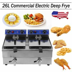 Electric Countertop Deep Fryer 3300w Dual Tank 26 Liter Commercial Restaurant Ek