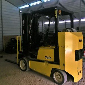 8000 Lbs Yale Glc080 Forklift 15 Height 7 forks V6 Excellent Condition Nice