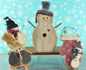 Handmade Wood Snowman Christmas Ornaments Country Holiday Decor 3 Pc