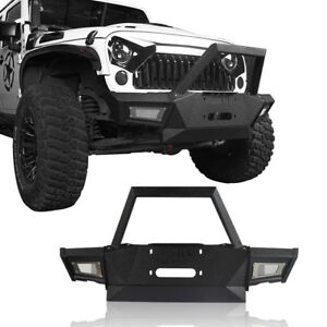 Mid Front Bumper W Built In Winch Plate For Jeep Wrangler 07 18 Jk