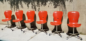 Set 6 Ion Orange Space Needle Chairs Gideon Kramer American Desk Corp Eames Mod