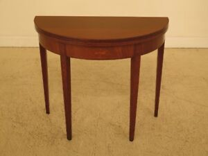 F45335ec Vintage 1920 S Federal Inlaid Mahogany Flip Top Console Table