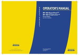 New Holland Rf 450 Superfeed Rf 450 Cropcutter Round Baler Operator s Manual