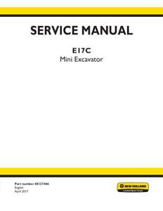 New Holland E17c Mini Excavator Service Manual
