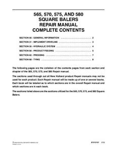 New Holland 565 570 575 580 Sq Baler Service Manual