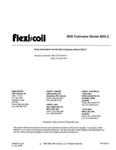 New Holland 800 Cultivator 800 c Parts Catalog