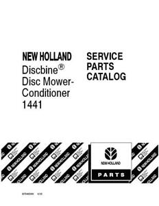New Holland 1441 Discbine Mower Conditioner Parts Catalog