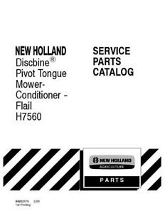 New Holland Discbine Pivot Tongue Mower Conditioner H7560 Parts Catalog