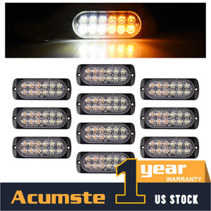 10x White Amber 12 Led Strobe Flash Warning Emergency Light Bar Truck Hazard
