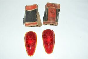 Lynx Tye Ruby 1939 Plymouth Red Glass Lens Tail Stop Light Cover Old Antique 2x