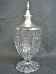 Antique Etched Cut Greek Key Crystal Urn With Meriden Sterling Lid C 1900