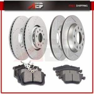 For 2002 2003 2004 2005 2006 Audi A4 Front Rear Brake Discs Rotors Ceramic Pads