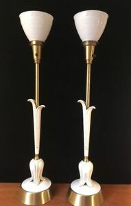 Pair Vtg Mid Century Hollywood Regency Rembrandt Candlestick Torchiere Lamps