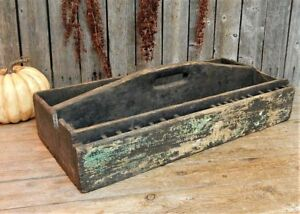 Early Antique Primitive Black Wooden Tool Carrier Box Aafa Rustic Display