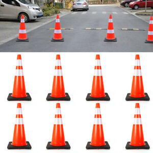 28 Inch Orange Safety Traffic Cones Pvc Black Base Relfective Collars 8 Pack