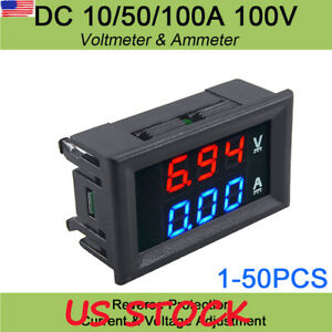Dc100v Blue red 10a Voltmeter Ammeter Led Amp Dual Digital Red Led Voltage Meter