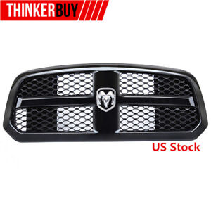 Front Bumper Mesh Grille For Dodge Ram 1500 2014 2017 Glossy Black Abs Logo