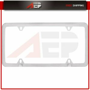 1pcs Silver Slim Stainless Steel License Plate Frame W Screw Caps 4hole For Bmw