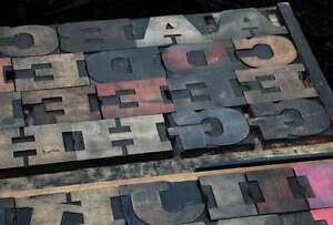 Antique Rare Alphabet 56pcs 4 53 Wood Printing Blocks Letterpress Wooden Type