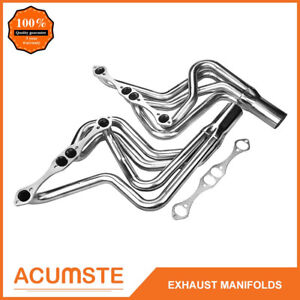 For 70 87 Chevy Sbc 267 400 V8 Stainless Long Tube Exhaust Manifold Headers 4 1