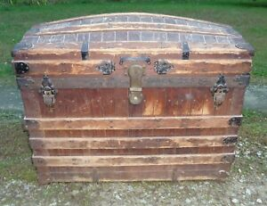Antique Slat Wood Dome Top Trunk Hard To Find
