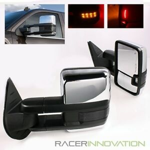 2007 2013 Gmc Yukon xl denali Power heated Chrome Tow Mirrors dark Lens Signal