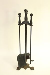 Vtg Antique Arts Crafts Style Cast Iron Fireplace Tools Tripod Stand 949 953
