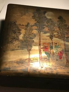 Antique Export Japanese Meiji Signed Wood Makie Lacquer Box